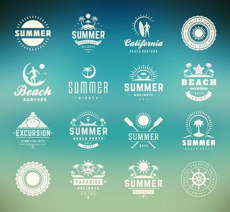 Summer holidays design elements and typography set. Retro and vintage templates. Labels, Badges, Posters, T-shirts, Apparel. Vector set. Beach vacation, party, travel, tropical paradise, adventure. Çizim