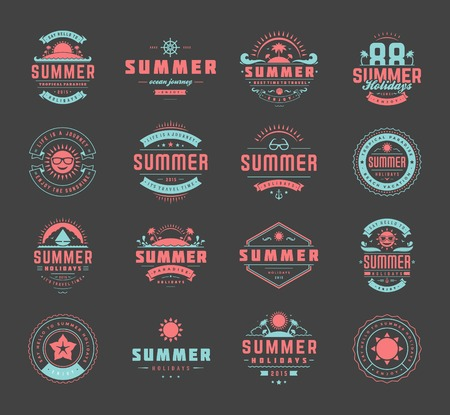 Summer holidays design elements and typography set. Retro and vintage templates. Labels, Badges, Posters, T-shirts, Apparel. Vector set. Beach vacation, party, travel, tropical paradise, adventure. Ilustração