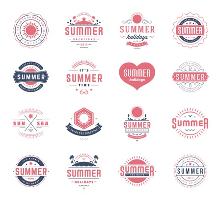 badge logo: Summer holidays design elements and typography set. Retro and vintage templates. Labels, Badges, Posters, T-shirts, Apparel. Vector set. Beach vacation, party, travel, tropical paradise, adventure. Illustration