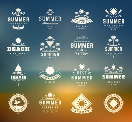 sunny beach: Summer holidays design elements and typography set. Retro and vintage templates. Labels, Badges, Posters, T-shirts, Apparel. Vector set. Beach vacation, party, travel, tropical paradise, adventure. Illustration
