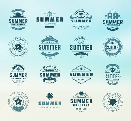 Summer holidays design elements and typography set. Retro and vintage templates. Labels, Badges, Posters, T-shirts, Apparel. Vector set. Beach vacation, party, travel, tropical paradise, adventure. Vector