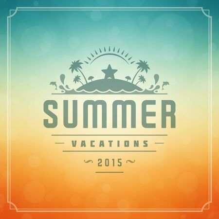 shine background: Summer holidays poster design. Beautiful blurred sunshine glowing bokeh light and typography message vector background.