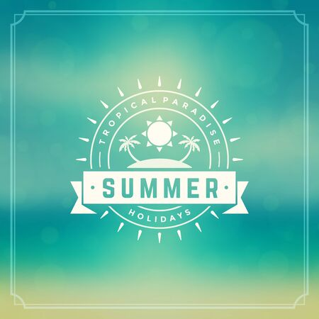 sunshine: Summer holidays poster design. Beautiful blurred sunshine glowing bokeh light and typography message vector background.