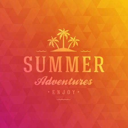 summer background: Summer holidays poster design. Abstract geometric colorful and typography message vector background.