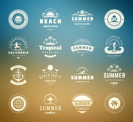 logo element: Summer holidays design elements and typography set. Retro and vintage templates. Labels, Badges, Posters, T-shirts, Apparel. Vector set. Beach vacation, party, travel, tropical paradise, adventure. Illustration