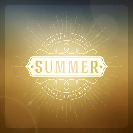 Summer holidays poster design. Beautiful blurred sunshine glowing bokeh light and typography message vector background. Vector