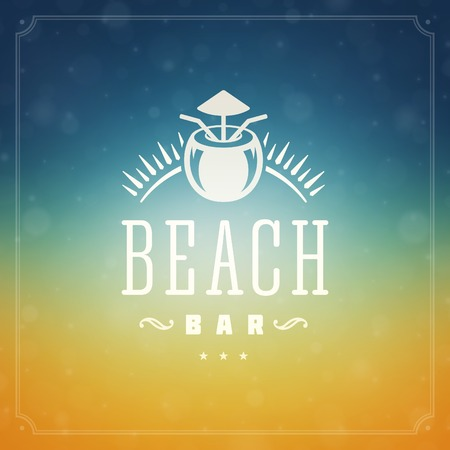 estate: Estate disegno feste poster. Bella sole offuscata luce incandescente bokeh e messaggio tipografia vettoriale. Vettoriali