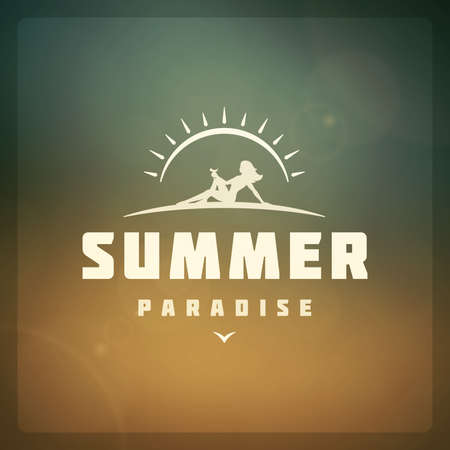 bokeh message: Summer holidays poster design. Beautiful blurred sunshine glowing bokeh light and typography message vector background.