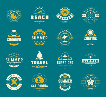 Summer holidays design elements and typography set.
