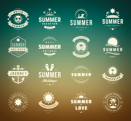 badge ribbon: Summer holidays design elements and typography set.