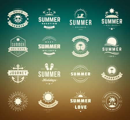 zomer: Zomervakantie design elementen en typografie set.
