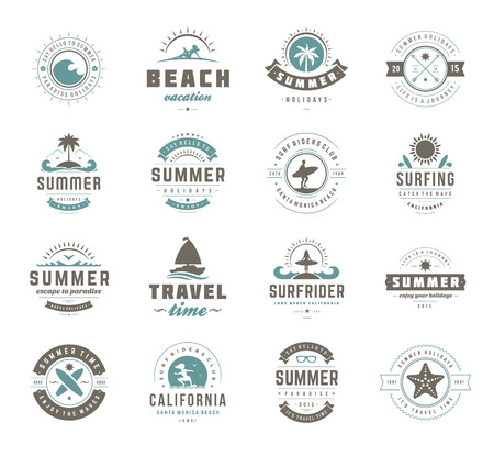 surfing: Summer holidays design elements and typography set.