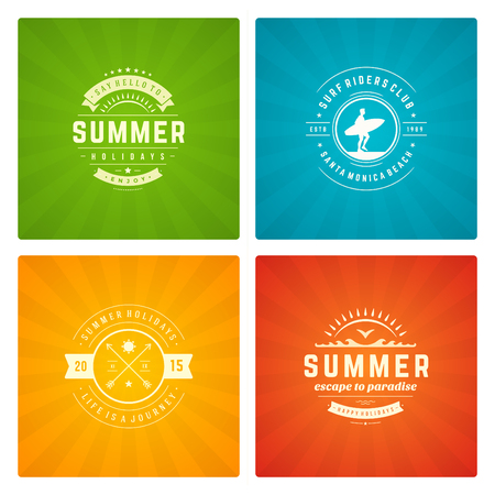 sun beach: Summer holidays labels design elements and typography set.