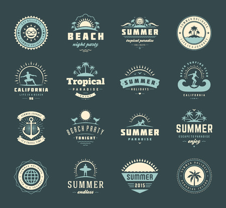 beach party: Summer holidays labels design elements and typography set.