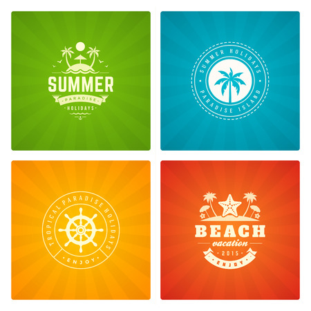 island paradise: Summer holidays labels design elements and typography set. Retro and vintage templates. Badges, Posters, Emblems, Apparel. Vector set. Beach vacation, party, travel, tropical paradise adventure.