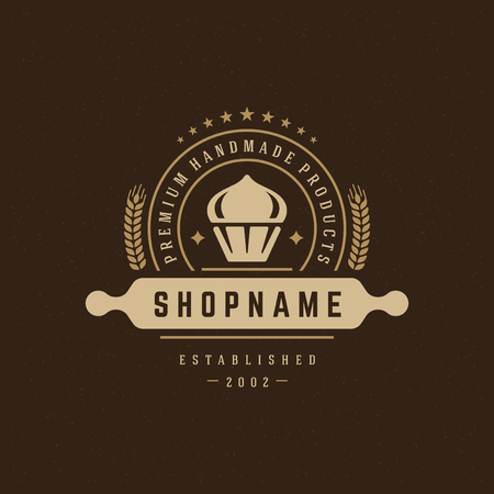 insignia: Bakery Shop Design Element in Vintage Style