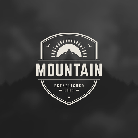 badge ribbon: Mountain Design Element in Vintage Style  Illustration