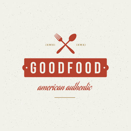 restaurant food: Restaurant Shop Design Element in Vintage Style  Illustration