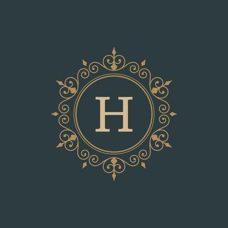 calligraphic: Luxury template flourishes calligraphic elegant ornament lines.  Illustration