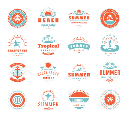 tropical border: Summer holidays labels design elements and typography set.