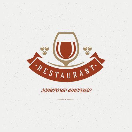 Restaurant Shop Design Element in Vintage Style for Logotype, Label, Badge and other design. Wine glass and Grapes retro vector illustration. Vector