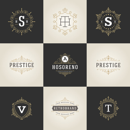 Set Luxury template flourishes calligraphic elegant ornament lines.