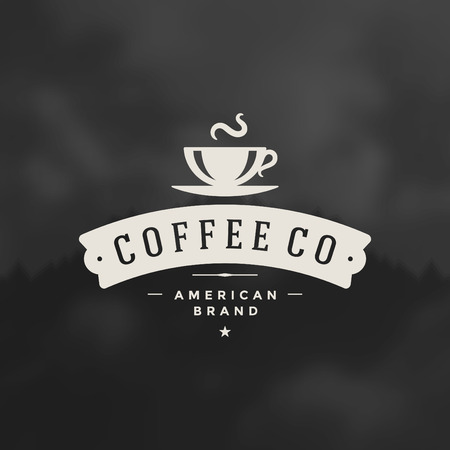 cups silhouette: Coffee Shop Design Element in Vintage Style