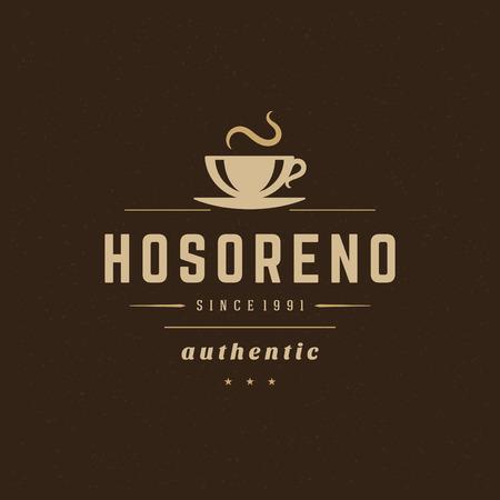 Coffee Shop Design Element in Vintage Style  Illustration