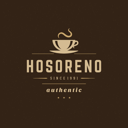 Coffee Shop Design Element in Vintage Style  Vettoriali