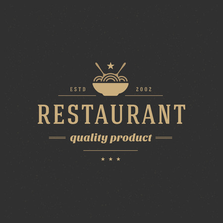 spaghetti: Restaurant Shop Design Element in Vintage Style  Illustration