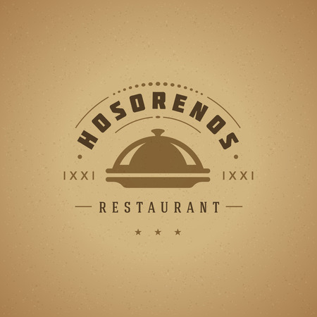 label design: Restaurant Cloche Design Element in Vintage Style