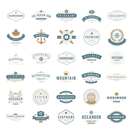 Retro Vintage Insignias Stock Illustratie