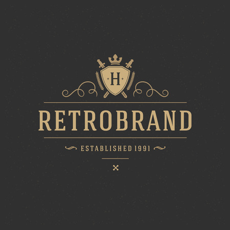 shield and sword: Luxury Design Element in Vintage Style  Illustration