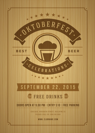 oktoberfest food: Oktoberfest beer festival celebration retro typography poster or flyer template