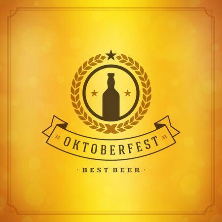 慶典: 啤酒節復古海報或賀卡和模糊的背景 向量圖像