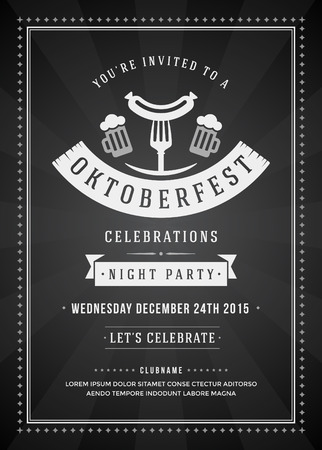 beer party: Oktoberfest beer festival celebration retro typography poster or flyer template