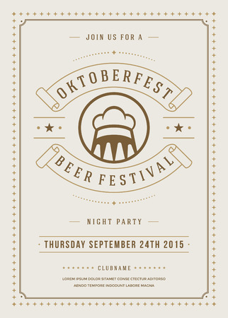 octoberfest: Oktoberfest beer festival celebration retro typography poster or flyer template. Illustration