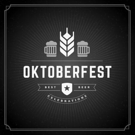Oktoberfest vintage poster or greeting card and chalkboard background