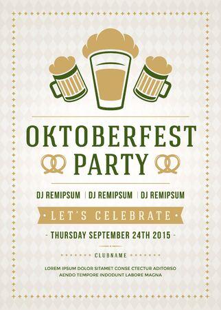 alimentos y bebidas: Oktoberfest celebraci�n del festival de la cerveza cartel de la tipograf�a retro o una plantilla volante Vectores