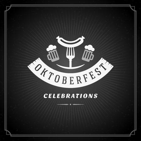 beer fest: Oktoberfest vintage poster or greeting card and chalkboard background