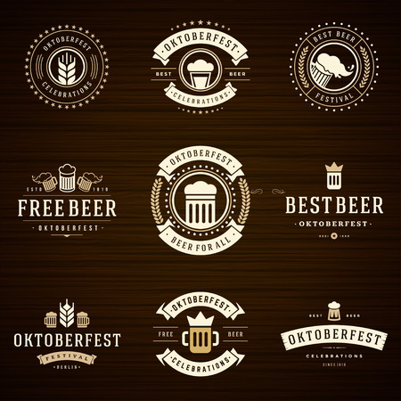 drunk party: Beer festival Oktoberfest celebrations retro style labels Illustration