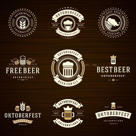 borracho: Fiesta de la cerveza Oktoberfest celebraciones etiquetas de estilo retro