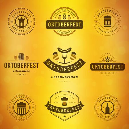 cebada: Etiqueta celebraciones Oktoberfest tipografía estilo retro fiesta de la cerveza