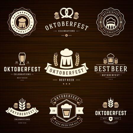 sellos: Fiesta de la cerveza Oktoberfest celebraciones etiquetas de estilo retro