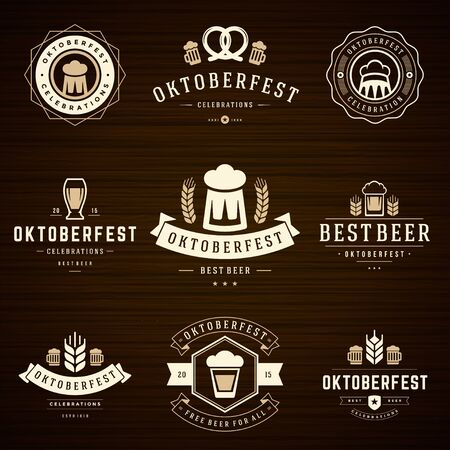 Beer festival Oktoberfest celebrations retro style labels Illustration