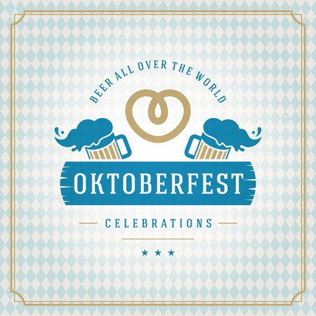 beer mugs: Oktoberfest vintage poster or greeting card and textured background Illustration