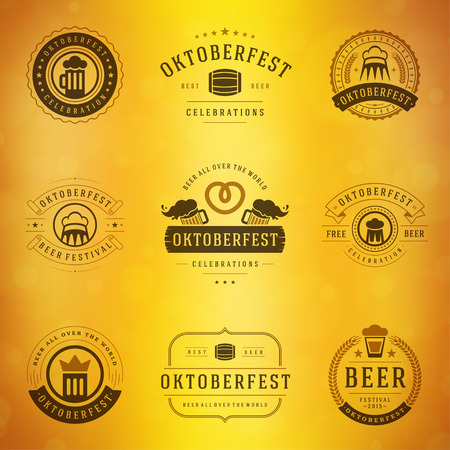 taverns: Beer festival Oktoberfest celebrations typography retro style labels, badges and logos set with beer mug on blurred background. Vector illustration.