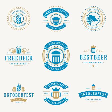 oktoberfest: Retro style labels, badges and logos set Beer festival Oktoberfest celebrations text. Vector illustration.