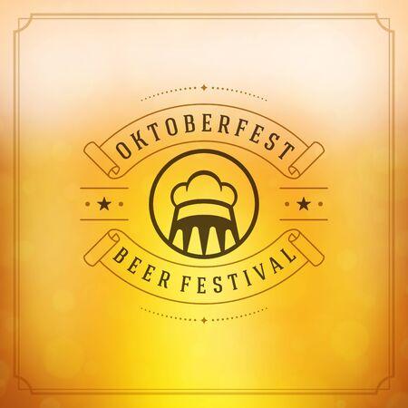 oktoberfest food: Oktoberfest vintage poster or greeting card and blurred background. Beer festival celebration. Vector illustration.