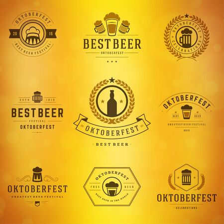 cereal bar: Beer festival Oktoberfest celebrations typography retro style labels, badges and logos set with beer mug on blurred background. Vector illustration.